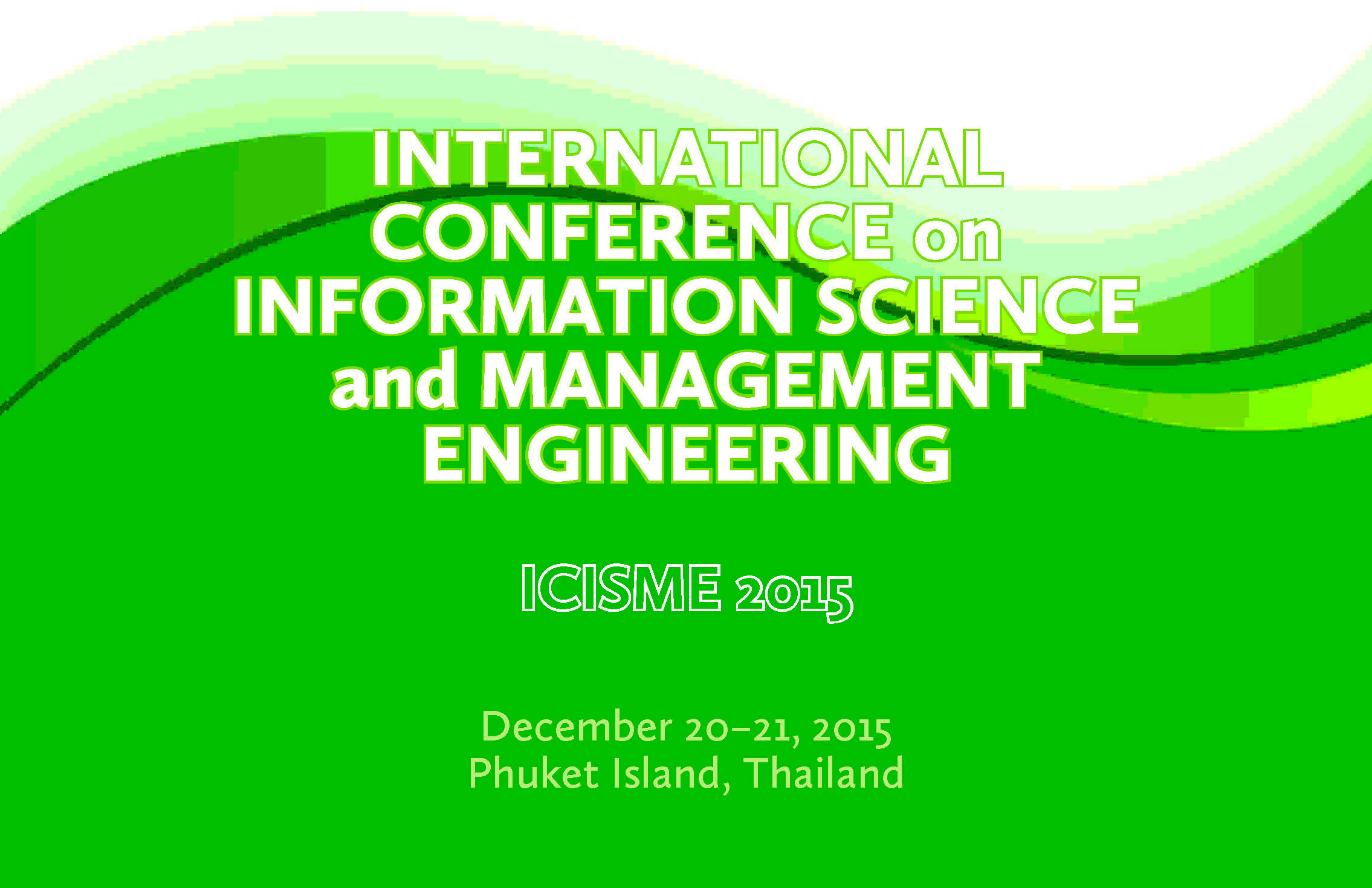 Icisme 2015 Destech Publishing Inc