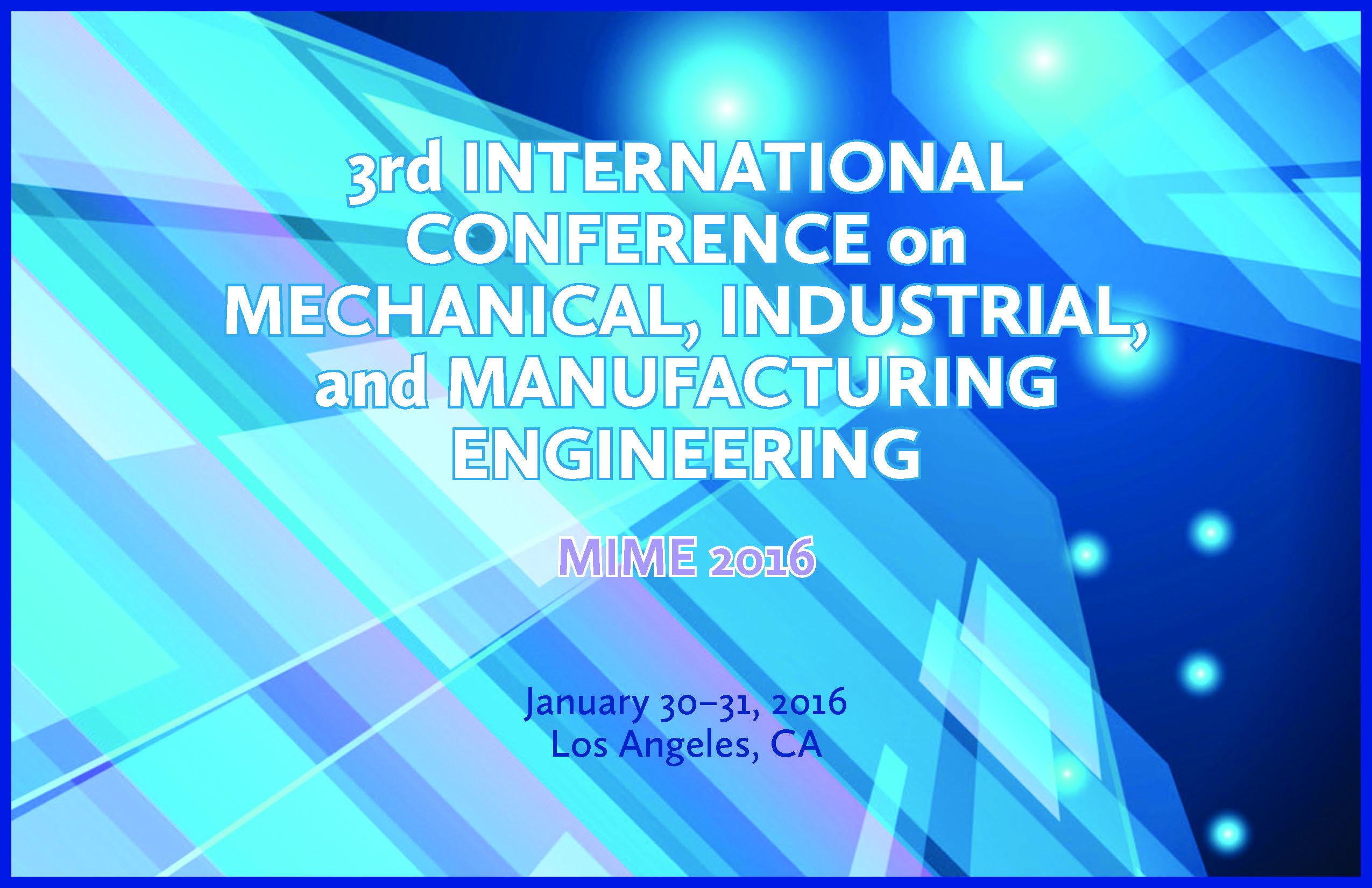 MIME 2016 3rd International Conference | DEStech Publications